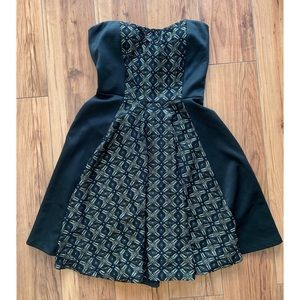 Wild Daisy Black and Gold Strapless Dress